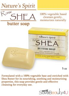 1pc Nature's Spirit Raw Shea Butter Soap Moisturizes Skin Body Bar Soap 5oz