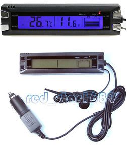 In Out Car LCD Thermometer Indoor Outdoor Car Vehicle Battery Voltage Monitor