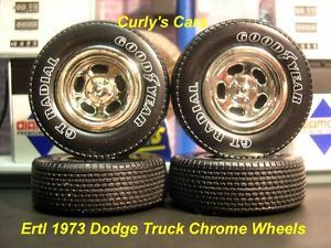 1 18 Scale Ertl 1973 Dodge Truck Chrome Slotted Wheels RWL Tires
