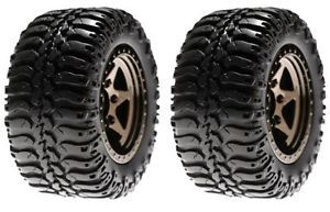 Losi LOSB1075 Front Wheels Tires Mounted 2 Black Chrome 1 18 Mini Desert Truck