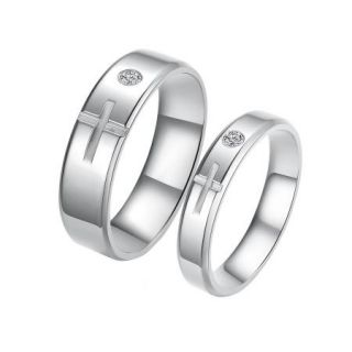 Fashion Titanium Stainless Steel Cross Couples Rings Set with One Cubic Zirconia
