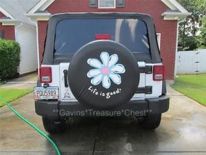"Life Is Good White Daisy Black Spare Tire Cover 31"" Tire 2013 Jeep Wrangler"