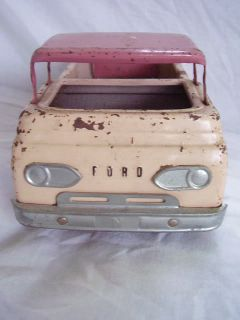 Nylint Vintage Tin Metal Pink Ford Truck Kennel White Vacationer Trailer 2pc Lot