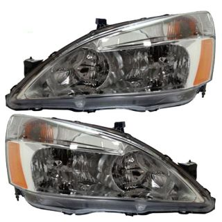 New Pair Set Headlight Headlamp Lens Housing Assembly SAE Dot 03 07 Honda Accord