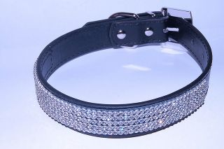 Black Diamante Dog Collar Leather Diamond Studded Buckle Free First Class Post