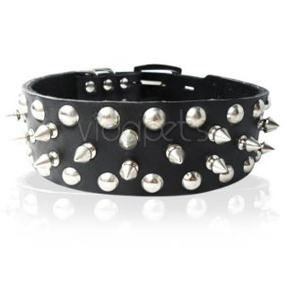 "21 25"" Black Spiked Spikes Studded Genuine Real Leather Dog Collar x Large XL"
