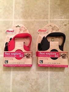 2 New Flexi Explore Retractable 26 ft Dog Leashes Up to 110 lbs Red Black