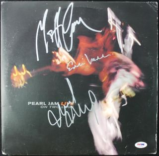 Pearl Jam 3 Vedder Cameron McCready Signed Album Cover w Vinyl PSA T08782