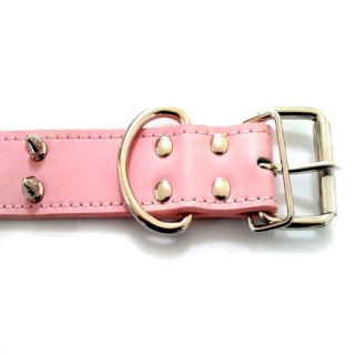 New 2 Row Pink Spiked Studded Leather Dog Collar Large Dog Collar M