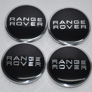 4x CHROME Black CAP WHEEL CAPS HUB CENTER RANGEROVER RANGE LAND ROVER Sport 63MM