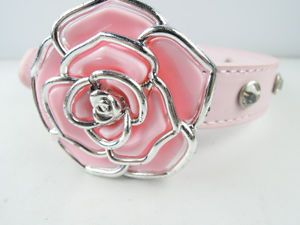 Pink Personalized Flower and Crystal Studded PU Leather Dog Collar 2 0 40cm