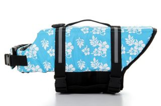 New Pet Dog Life Jacket Safety Vest Pet Boat Presevers Flowers Blue XXS XXL