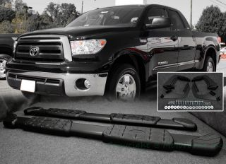 07 13 Toyota Tundra Side Step Rail Running Board Nerf Bar Black Double Cab