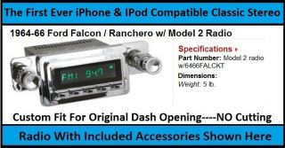 1964 66 Ford Falcon Ranchero Radio Am FM Stereo Aux USB Bluetooth Hands Free