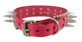 28 inch Hot Pink Leather Spiked Dog Collar 1` Spikes Large