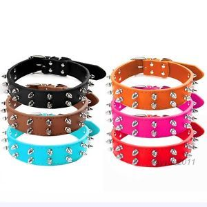 Brand New Colorful Spiked Studded Leather Dog Collars 2 Rows Spikes for Dogs