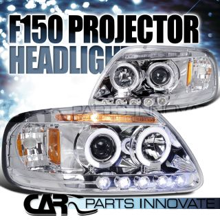 Ford 97 03 F150 Expedition LED Halo Projector Headlights Lamp Chrome