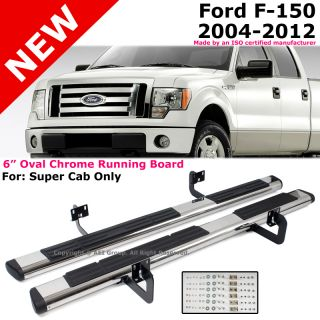 "Ford F150 04 12 Super Cab 6"" Oval Chrome Black Running Board Side Steps Nerf Bar"