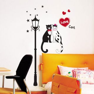Love Cat Lamp Wall Decal Removable Animal Stickers 20