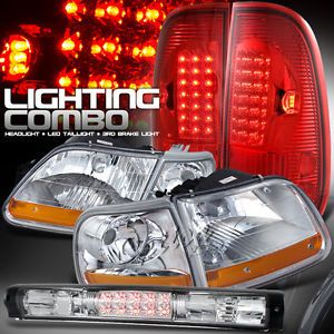 97 03 Ford F150 Expedition Chrome Head Lights Red Lense LED Tail 3rd Brake Lamps