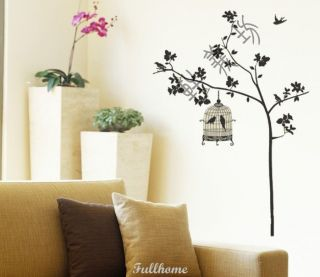 Removable Black Tree Birds Cage Wall Art Wall Decal Sticker 190 130cm