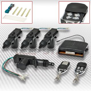 Car Auto Keyless Remote Control 2 4 Door Power Lock Actuator Kit 4 Button Silver