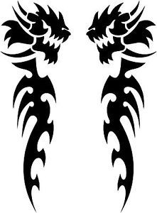 "Pair of Tribal Dragon Decals 3 75""x1 25"" Choose Color Vinyl Sticker"