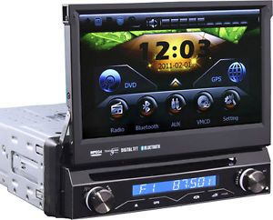 "7"" Universal Single 1 DIN Slide Out GPS Navigation DVD Radio Stereo Bluetooth"