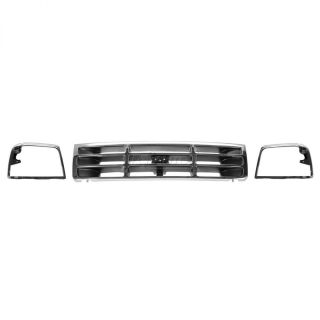Headlight Head Lamp Chrome Bezel Grille Set for 92 96 Ford Truck Bronco F150