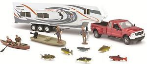 Red Fifth Wheel w camper Fishing Playset 1 32 Truck Trailer Accessories Boat