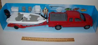 Bass Boat Fishing Toy Set Includes Truck Boat Fish Men and Accessories