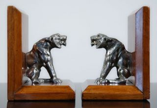 RARE 1920s French Art Deco Tiger Sculpture Bookends Bronze Mahogany Book Ends