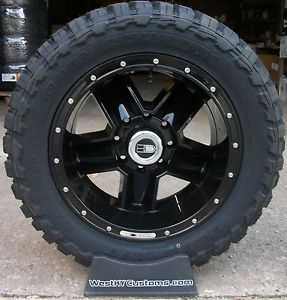 20x10 HD Dig Wheels Black Toyo Open Country MT 33x12 50R20 Mud Tires Ford F250