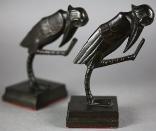 RARE Pair German Art Deco FVM Bronze Grotesque Bird Bookends C 1920