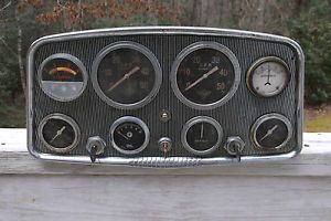Vintage Stewart Warner 8 Gauge Panel Instrument Cluster RPM Oil Amp 3 Key