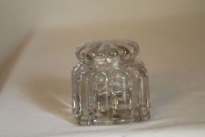 Antique Clear Square Glass Ink Bottle with Lid Fancy