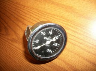 Stewart Warner Vaccum Gauge Smooth Bezel Curved Ford 1932 Hot Rod Halibrand