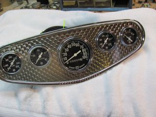 Vintage Stewart Warner Gauge Panel Gauges Large Bloc Speedometer 100 MPH