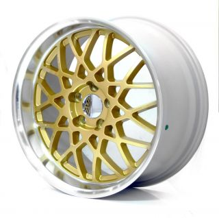 "RC1 VAG VW 18"" 8 5J 5x112 ET45 Gold Rims Alloys Wheels BBs Rotiform Style Z1937"
