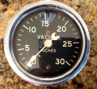 Early 40's Stewart Warner Curved Glass Crescent Pointer Vacuum Gauge for A 1932