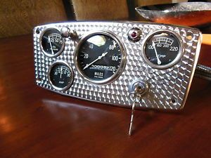 Vintage Stewart Warner Gauge Panel Instrument Cluster SW Speedometer MPH Hot Rod