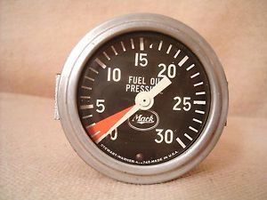 Vtg Mack Truck Fuel Oil Pressure Gauge by Stewart Warner w Mounting Bracket