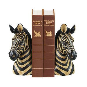Zebra Bookends Shelf Desk Table Decor Africa Safari Wildlife Book Ends