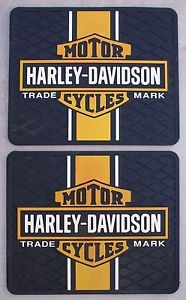 "Harley Davidson Car Truck Shop Rubber Floor Mats 13 5""x16 5"" Black Yellow White"
