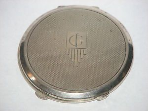 Stylish Antique Art Deco 1935 Silver Compact Mirror wth Engine Turned Design 75g