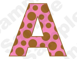 Brown Pink Polka Dot Alphabet Letter Name Baby Nursery Girl Wall Stickers Decals
