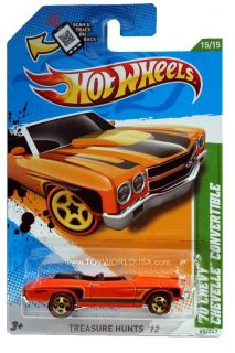 2012 Hot Wheels Treasure Hunt 65 1970 Chevrolet Chevelle Convertible
