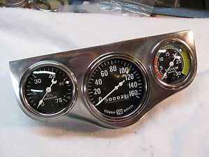 Vintage Stewart Warner Gauges Large Bloc Speedometer 160 MPH 2 5 8 Curved Glass