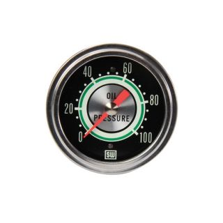 "New Stewart Warner 2 5 8"" Green Line Mechanical Oil Pressure Gauge 0 100 PSI"