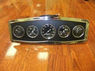 40s Stewart Warner Curved Glass 5 Gauge Instrument Panel Cluster 2 5 8 Crescent